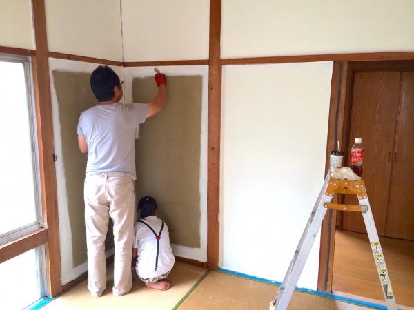 壁塗りは家族で楽しめます。